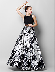 cheap -A-Line Jewel Neck Floor Length Chiffon / Charmeuse Floral / Elegant Prom / Formal Evening Dress 2020 with Pattern / Print