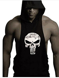 cheap -Men's Graphic Skull Print Tank Top Active Daily Sports Gym Hooded White / Black / Yellow / Red / Blue / Gray / Summer / Sleeveless
