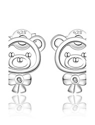 cheap -Women's AAA Cubic Zirconia Stud Earrings Clip on Earring Bear Animal Ladies Fashion Cute Sterling Silver Zircon Cubic Zirconia Earrings Jewelry Silver For Wedding Party Daily Casual / Silver Plated