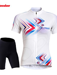 cheap -TASDAN Women's Short Sleeve Cycling Jersey with Shorts Black Black / White Plus Size Bike Shorts Jersey Padded Shorts / Chamois Breathable 3D Pad Quick Dry Reflective Strips Back Pocket Sports Lines