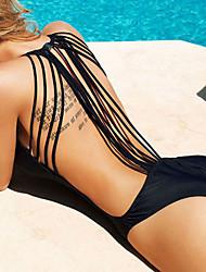 abordables -Femme Rubans Uni Sportif Licou Blanc Noir Une-pièce Maillots de Bain - Couleur Pleine Croisé M L XL Blanc / Super sexy