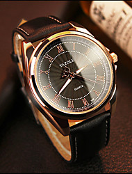 cheap -YAZOLE Men's Wrist Watch Quartz Leather Black / Brown Hot Sale Analog Classic Casual - Black