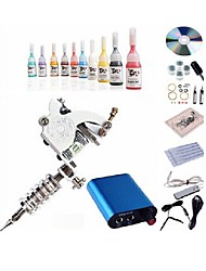 cheap -BaseKey Tattoo Machine Starter Kit - 1 pcs Tattoo Machines with 10 x 5 ml tattoo inks, Professional Aluminum Alloy Mini power supply Case Not Included 20 W 1 steel machine liner & shader