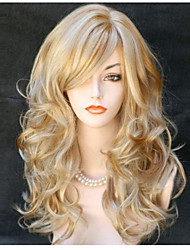 cheap -Synthetic Wig Body Wave Wavy With Bangs Wig Blonde Long Blonde Synthetic Hair 24 inch Women's Side Part Blonde