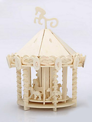 cheap -Jigsaw Puzzles 3D Puzzles / Wooden Puzzles Building Blocks DIY Toys Merry-go-round Wood Beige Model & Building Toy
