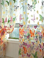abordables -rideaux transparents teinte un panneaux salon impression polyester
