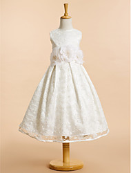 cheap -A-Line Tea Length Wedding / First Communion Flower Girl Dresses - Lace Sleeveless Scoop Neck with Lace / Bow(s) / Flower
