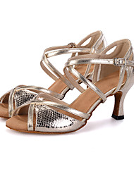 cheap -Women's Dance Shoes Leatherette Latin Shoes Buckle / Animal Print / Hollow-out Sandal / Heel / Sneaker Flared Heel Customizable Silver / Gold / Performance / EU40