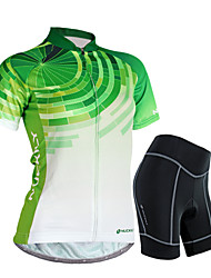 cheap -Nuckily Women's Short Sleeve Cycling Jersey with Shorts Green Gradient Bike Shorts Jersey Clothing Suit Waterproof Breathable 3D Pad Reflective Strips Sweat-wicking Sports Polyester Spandex Gradient