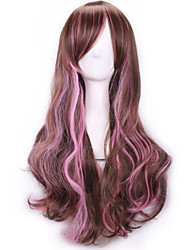 cheap -Synthetic Wig Curly Body Wave Body Wave Asymmetrical Wig Long Rainbow Synthetic Hair Women's Natural Hairline Brown