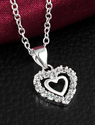 cheap -Women's Cubic Zirconia Pendant Necklace Love Sterling Silver Zircon Cubic Zirconia Silver Necklace Jewelry For