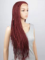 abordables -Perruque Lace Front Synthétique Très Frisé Lace Frontale Perruque Cheveux Synthétiques Femme Perruque tressée Tresses Africaines Rouge