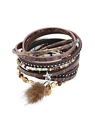 cheap -Women's Crystal Wrap Bracelet Leather Bracelet Beads Star Luxury Leather Bracelet Jewelry Brown / Green / Blue For Wedding Party Daily Casual Sports / Feather / Imitation Diamond / Rhinestone