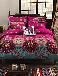 cheap -Duvet Cover Sets 4 Piece Cotton Floral 1# Reactive Print Pattern