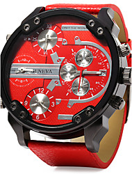 cheap -Men's Military Watch Quartz Oversized Leather Black / Blue / Red Calendar / date / day Dual Time Zones Three Time Zones Analog Luxury - Orange Red Blue One Year Battery Life / SSUO LR626