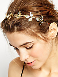 cheap -Women's Girls' Basic Natural Simple Style Gold Plated Alloy Headbands Wedding Party / Leaf