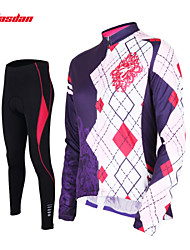 cheap -TASDAN Women's Long Sleeve Cycling Jersey with Tights Black Argyle Bike Pants / Trousers Jersey Tights Breathable 3D Pad Quick Dry Reflective Strips Back Pocket Winter Sports Argyle Mountain Bike MTB