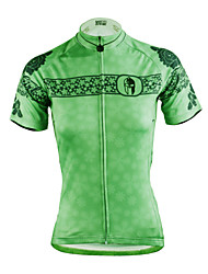 cheap -ILPALADINO Women's Short Sleeve Cycling Jersey Polyester Green Plus Size Bike Jersey Top Mountain Bike MTB Road Bike Cycling Breathable Quick Dry Ultraviolet Resistant Sports Clothing Apparel