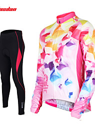 cheap -TASDAN Women's Long Sleeve Cycling Jersey with Tights Blue Pink Solid Color Plus Size Bike Pants / Trousers Jersey Tights Breathable 3D Pad Quick Dry Reflective Strips Back Pocket Winter Sports Solid