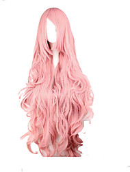 cheap -Cosplay Costume Wig Synthetic Wig Cosplay Wig Wavy Loose Wave Kardashian Loose Wave With Bangs Wig Pink Very Long Pink Synthetic Hair Women's Side Part Pink hairjoy