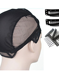 cheap -wig-cap-for-making-wigs-with-adjustable-strap-on-the-back-weaving-cap-size-m-with-2-snap-clips-and-4-wig-comb-clips