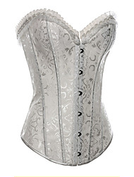 cheap -Women's Classic Style Bustiers Lace Up Corset White Black Jacquard Lace Printing Lace Satin Lolita Accessories
