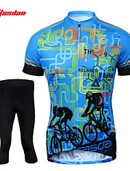 cheap -TASDAN Men's Short Sleeve Cycling Jersey with Tights Bike Shorts Jersey Tights Breathable 3D Pad Quick Dry Reflective Strips Back Pocket Sports Painting Mountain Bike MTB Road Bike Cycling Clothing
