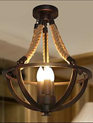 abordables -Cordon de chanvre à 3 lumières, montage encastré, plafonnier peint, finitions en métal de style mini 110-120v / 220-240v, ampoule blanc chaud non incluse / e12 / e14 / fcc / vde