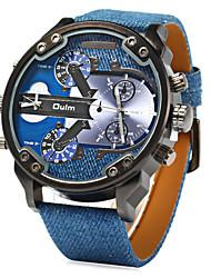 cheap -Men's Wrist Watch Quartz Japanese Quartz Leather Blue Dual Time Zones Analog Charm - Blue / Stainless Steel