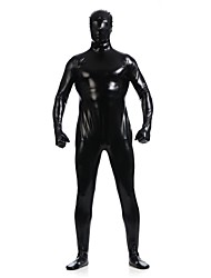 cheap -Shiny Zentai Suits Skin Suit Full Body Suit Ninja Adults' Spandex Latex Cosplay Costumes Sex Men's Women's Black Solid Colored Halloween / High Elasticity