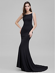 cheap -Mermaid / Trumpet Sparkle & Shine Formal Evening Dress Scoop Neck Sleeveless Court Train Jersey with Bow(s) Beading 2021