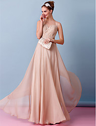 cheap -A-Line Bateau Neck Floor Length Chiffon Made-To-Measure Wedding Dresses with Appliques by LAN TING BRIDE® / Wedding Dress in Color