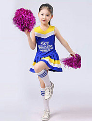 cheap -Cheerleader Costumes Outfits Performance Polyester Ruffles Sleeveless High Top / Skirt