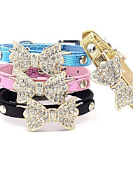 cheap -Cat Dog Collar Adjustable / Retractable Rhinestone Bowknot PU Leather Blue Pink Golden