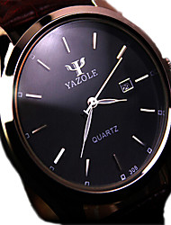 cheap -Men's Wrist Watch Quartz Stainless Steel Black / Brown Water Resistant / Waterproof Calendar / date / day Analog Charm Classic - Black Brown / White Ethiopia One Year Battery Life / KC 377A