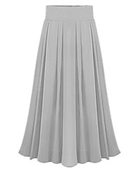 cheap -Women's Going out Swing Skirts - Solid Colored Pleated / Chiffon Pink Light Blue Light Green One-Size