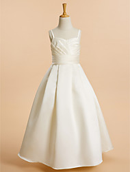 cheap -A-Line Floor Length Flower Girl Dress - Satin Sleeveless Spaghetti Strap with Sash / Ribbon / First Communion