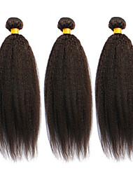cheap -12 24inch brazilian virgin hair natural black kinky straight hair unprocessed human hair weave bundles