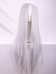 cheap -Synthetic Wig Straight Yaki Straight Yaki Asymmetrical Wig Long Silver Synthetic Hair Women's Natural Hairline Silver