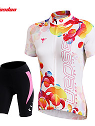 cheap -TASDAN Women's Short Sleeve Cycling Jersey with Shorts White Floral Botanical Bike Shorts Jersey Padded Shorts / Chamois Breathable 3D Pad Quick Dry Reflective Strips Back Pocket Sports Floral