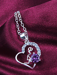 cheap -Women's Pendant Necklace Sterling Silver White Purple Necklace Jewelry For