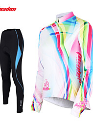 cheap -TASDAN Women's Long Sleeve Cycling Jersey with Tights White Rainbow Plus Size Bike Pants / Trousers Jersey Tights Breathable 3D Pad Quick Dry Reflective Strips Back Pocket Winter Sports Rainbow