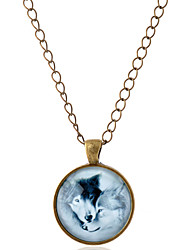 cheap -Men's Women's Pendant Necklace Animal Wolf Simple Style Gemstone Glass Alloy Bronze Silver Necklace Jewelry For Party Daily Casual