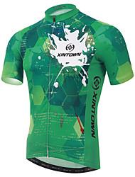 cheap -XINTOWN Men's Short Sleeve Green Bike Jersey Breathable Quick Dry Ultraviolet Resistant Sports Elastane Terylene Lycra Clothing Apparel / High Elasticity