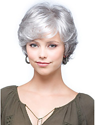 cheap -Synthetic Wig Curly Curly With Bangs Wig Short Silver Synthetic Hair Women's Side Part With Bangs Gray StrongBeauty