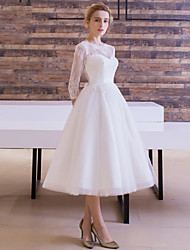 cheap -A-Line Bateau Neck Tea Length Lace Over Tulle 3/4 Length Sleeve Little White Dress / See-Through Made-To-Measure Wedding Dresses with Sash / Ribbon 2020 / Illusion Sleeve