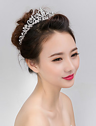cheap -Women's Girls' Tiaras For Wedding Party Prom Crown Homecoming Royalty Flower Pearl Crystal Imitation Diamond Silver / Alloy