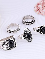 cheap -Women's Statement Ring 5pcs Silver Golden Alloy Ladies Unusual Asian Daily Casual Jewelry
