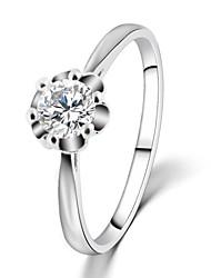 cheap -2016 Engagement Ring Flower Real 18K Platinum Plated Micro Inlay AAA Zircon Fashion RingsImitation Diamond Birthstone