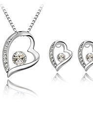 cheap -Women's Jewelry Set Stud Earrings Pendant Necklace Heart Ladies Simple Style Fashion Rhinestone Earrings Jewelry Rose / Green / Blue For Wedding Gift Daily Casual